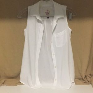 So Perfect Shirt Relaxed Sleeveless White Blouse